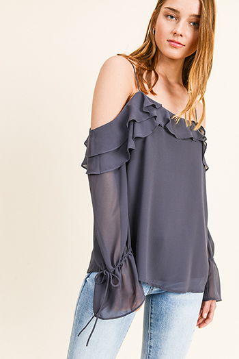 $12 - Cute cheap blue long sleeve tunic - Charcoal grey chiffon ruffled cold shoulder long bell sleeve blouse top