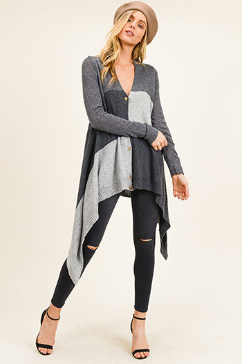$20 - Cute cheap floral boho crop top - Charcoal grey color block long sleeve waterfall hem boho button up cardigan top