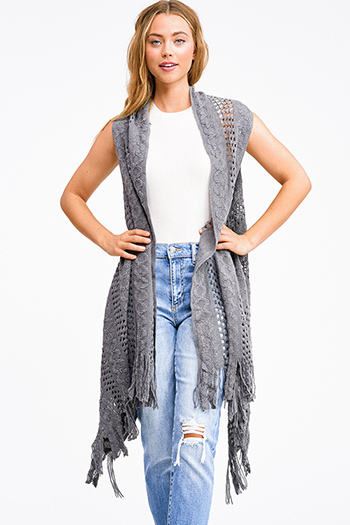 $12 - Cute cheap black ribbed knit surplice faux wrap long slit sleeve wrist tie boho top - Charcoal grey crochet knit fringe hem open front boho sweater cardigan vest top