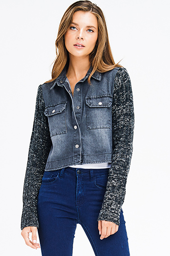 $18 - Cute cheap blue washed denim mid rise distressed frayed ripped skinny fit jeans - charcoal grey denim sweater knit long sleeve cropped button up jean jacket top