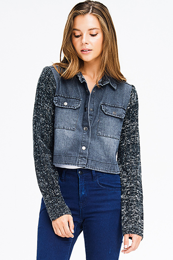 $15 - Cute cheap dark blue washed denim button up pocketed frayed hem crop jean jacket - charcoal grey denim sweater knit long sleeve cropped button up jean jacket top