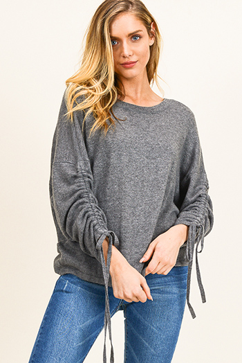 $25 - Cute cheap lime mustard green knit dolman sleeve ruched back boho shrug cardigan top - Charcoal grey drawstring ruched long sleeve twist knotted open back boho sweater top