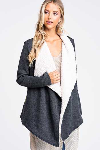 $30 - Cute cheap plum purple burgundy chenille fuzzy knit long sleeve draped neck open front pocketed boho sweater cardigan - Charcoal grey fleece lined draped neck pocketed open front coat jacket