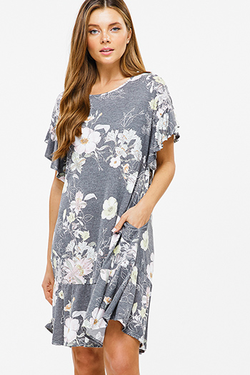$20 - Cute cheap lace boho shift dress - Charcoal grey floral print ruffle short sleeve pocketed boho mini dress