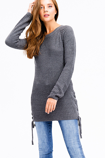 $12 - Cute cheap pocketed boho mini dress - charcoal grey knit long sleeve round neck laceup side boho tunic sweater mini dress