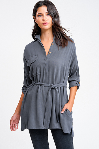 $16 - Cute cheap charcoal gray acid washed long bell sleeve crochet trim button up boho tunic mini shirt dress - Charcoal grey long sleeve button up belted pocketed boho blouse tunic top