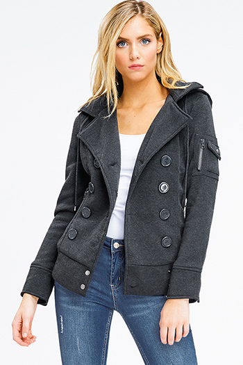 $15 - Cute cheap olive green zip up pocketed button trim hooded puffer coat jacket - charcoal grey long sleeve double breasted button up hooded pocketed jacket