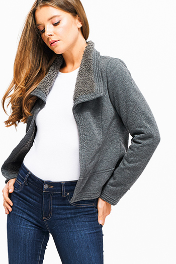 $30 - Cute cheap print long sleeve jacket - Charcoal grey long sleeve faux fur fleece lined open front cropped hem jacket