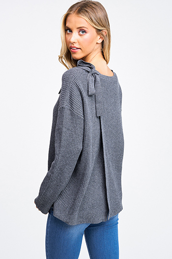 $25 - Cute cheap plum purple burgundy chenille fuzzy knit long sleeve draped neck open front pocketed boho sweater cardigan - Charcoal grey long sleeve surplice tie back boho ribbed sweater knit top