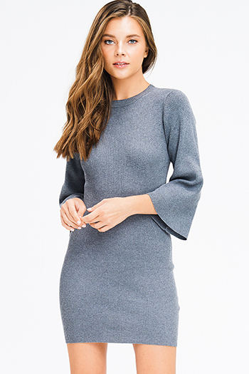 $25 - Cute cheap print sheer evening dress - charcoal grey ribbed knit mock neck long bell sleeve sweater knit boho mini dress