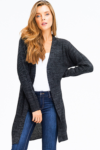 $20 - Cute cheap black ribbed knit surplice faux wrap long slit sleeve wrist tie boho top - charcoal grey ribbed sweater knit long sleeve open front boho duster cardigan