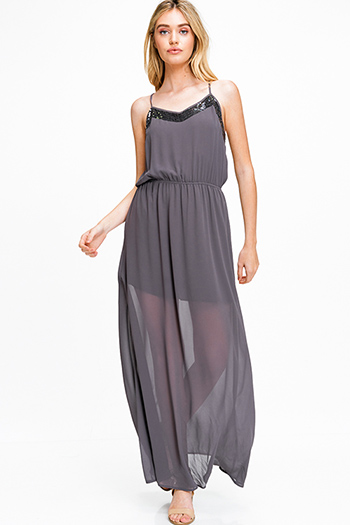 $25 - Cute cheap print pocketed dress - Charcoal grey semi sheer chiffon sequined trim sleeveless racer back evening maxi sun dress