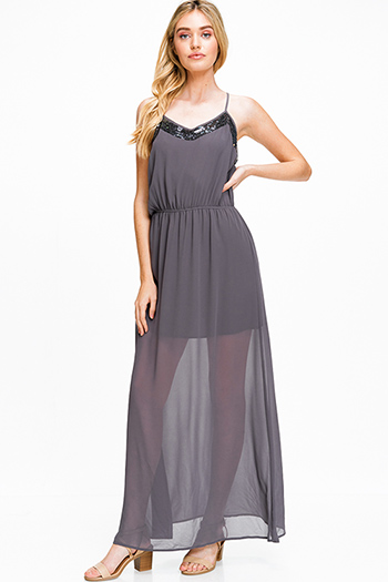 $18 - Cute cheap light pink satin floral off shoulder ruffle tiered boho mini sun dress - Charcoal grey semi sheer chiffon sequined trim sleeveless racer back evening maxi sun dress