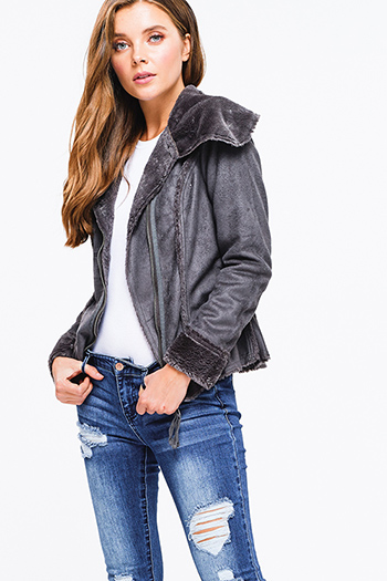 $25 - Cute cheap black long sleeve button up crop puffer bomber down jacket - Charcoal grey suede faux fur lined long sleeve zip up fitted jacket