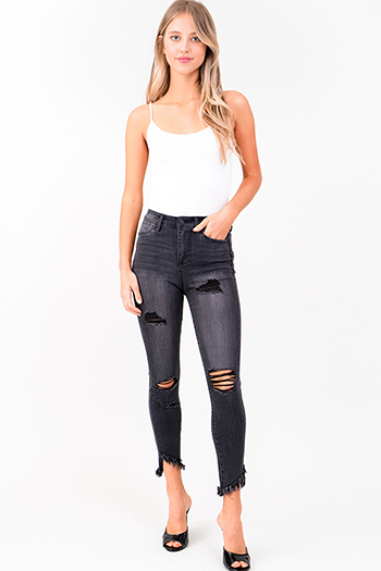 $20 - Cute cheap olive green denim mid rise distressed frayed double button skinny jeans - charcoal grey washed denim high rise distressed frayed hem ankle skinny jeans