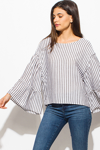 $15 - Cute cheap blue stripe ruffle cold shoulder button up boho blouse top - chargoal gray striped long tiered wide bell sleeve keyhole tie back nautical boho top