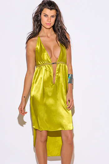 $20 - Cute cheap backless fitted midi dress - charteuse yellow satin bejeweled backless deep v neck babydoll cocktail sexy party midi sun dress