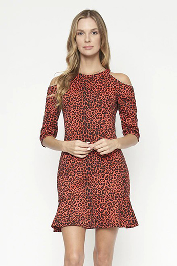 $18.50 - Cute cheap dress sale - cheatea print open shoulder crew neck dress