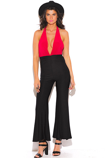 $10 - Cute cheap rose coral deep v neck high slit wide leg jumpsuit - cherry red and black color block deep v neck ruched drape wide leg jumpsuit
