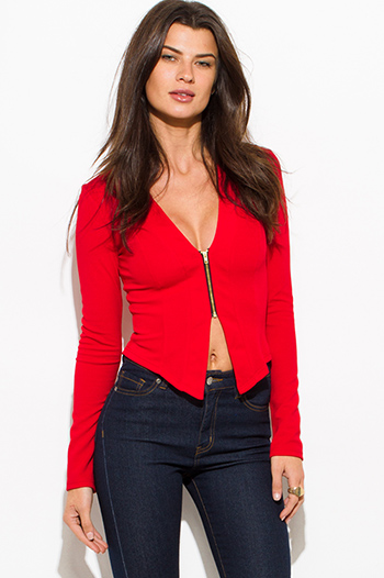 $15 - Cute cheap red caged fitted jumpsuit - cherry red textured long sleeve asymmetrical hem zip up fitted jacket top