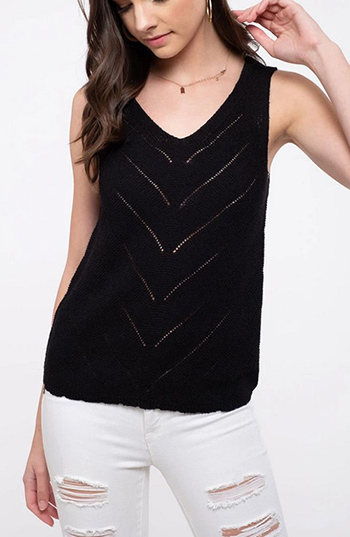 $21.50 - Cute cheap solid knit top v neckline 1610439221602 - chevron knit tank top