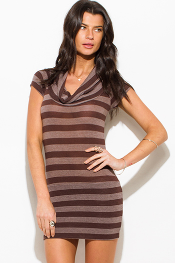 $5 - Cute cheap graphic print stripe short sleeve v neck tee shirt knit top - chocolate brown striped cowl neck sweater knit tunic top