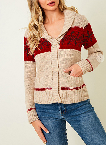 $22.5 - Cute cheap clothes - Christmas Jacquard Sweater button front cardigan.