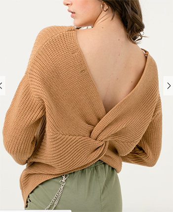 $25.00 - Cute cheap sweater top - clay knit long sleeve v neck twist knotted back boho sweater top