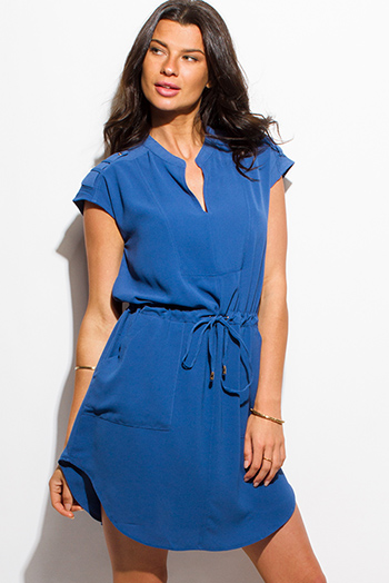 $15 - Cute cheap blue asymmetrical sexy party dress - cobalt blue cap sleeve indian collar tie waist pocketed tunic shift shirt dress