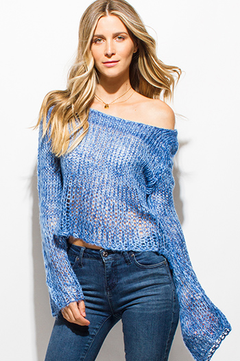 $15 - Cute cheap brown animal zebra print long dolman sleeve boat neck knit top - cobalt blue crochet sweater knit boat neck long bell sleeve boho top