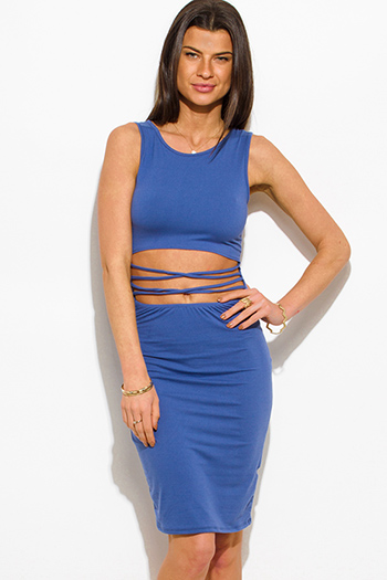 $15 - Cute cheap metallic ruched mini dress - cobalt blue cut out criss cross caged front sexy clubbing mini dress