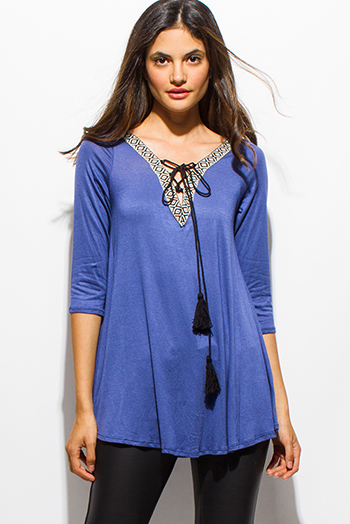 $15 - Cute cheap sheer slit boho top - cobalt blue embroidered tassel tie quarter sleeve boho top