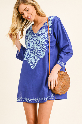 $20 - Cute cheap ivory multicolor stripe sleeveless button trim shirred back boho mini sun dress - Cobalt blue embroidered v neck long sleeve side slit boho beach cover up tunic mini dress