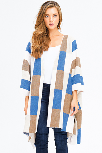 $30 - Cute cheap open back evening jumpsuit - cobalt blue mocha brown color block long sleeve open front heavy knit boho shawl cardigan