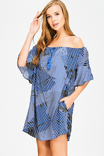 $15 - Cute cheap print midi dress - cobalt blue off shoulder abstract print tassel tie pocketed short angel sleeve boho shift mini dress