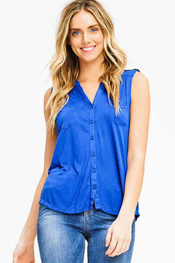 $10 - Cute cheap blue crop top - cobalt blue rayon jersey sleevess button up tee tank top