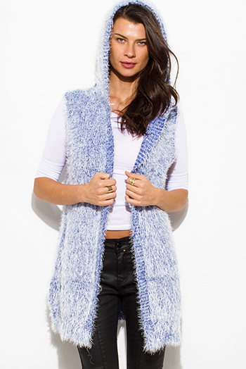 $15 - Cute cheap navy blue sexy party top - cobalt blue textured open front hooded fuzzy sweater knit cardigan vest top