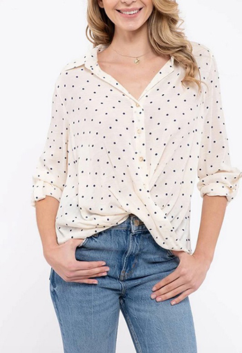 $19.75 - Cute cheap crochet blouse - collar button down twist blouse