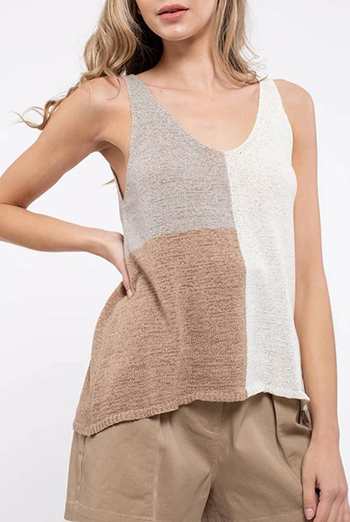 $17.75 - Cute cheap color block sweater tank top