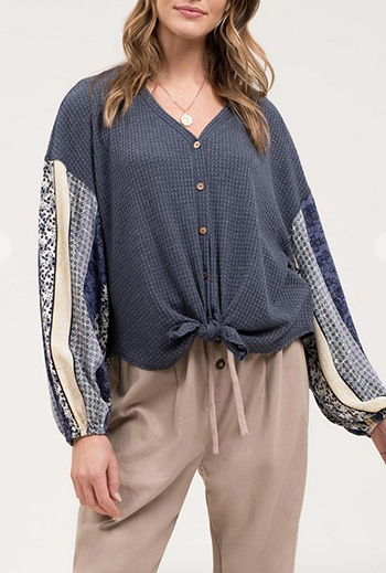 $19.50 - Cute cheap Contrast Long Sleeve Knit Top