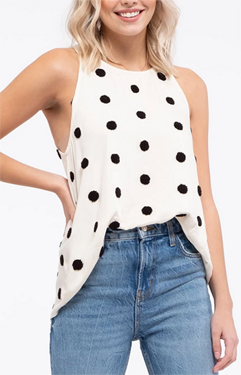 $14.75 - Cute cheap contrast pom-pom dot halter neck top