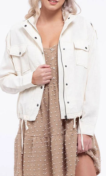 $35.50 - Cute cheap contrast stitched linen jacket