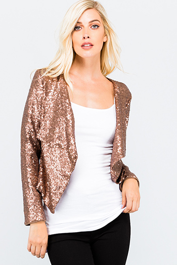$25 - Cute cheap crochet long sleeve sweater - Copper brown sequin long sleeve open front cocktail sexy party boho holiday blazer jacket