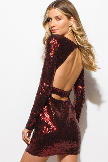 $15 - Cute cheap red v neck faux wrap criss cross back fitted cocktail party mini dress - copper brown sequined long sleeve cut out open back fitted party pencil sexy club mini dress