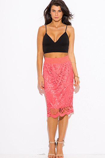 $15 - Cute cheap dark blue denim high waisted button up boho midi skirt - coral crochet lace high waisted fitted boho midi pencil skirt