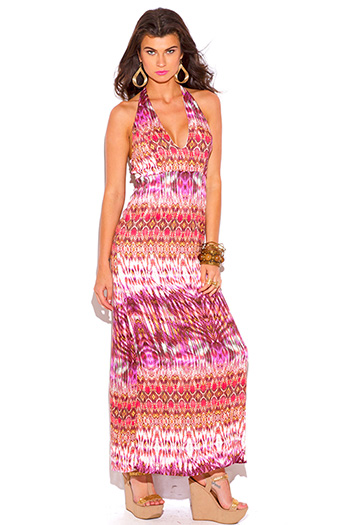 $15 - Cute cheap crepe slit sun dress - coral ethnic tie dye print deep v neck backless summer maxi sun dress