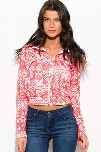 $15 - Cute cheap white checker grid print button up long sleeve boho blouse top - coral ethnic print zip up mock neck sporty long sleeve jacket top