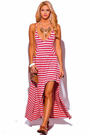 $20 - Cute cheap print high neck dress - coral gray stripe deep v neck high low slit boho summer maxi sun dress