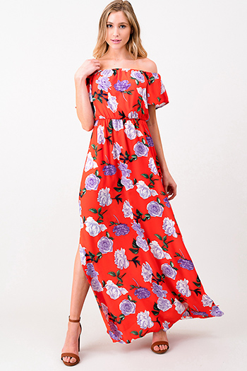 $20 - Cute cheap satin v neck dress - Coral orange floral print off shoulder short sleeve side slits evening sexy party maxi sun dress