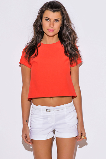 $7 - Cute cheap black fishnet mesh overlay short sleeve sexy clubbing crop top - coral orange short sleeve preppy boxy top